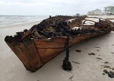 Could this be the wreck of a Civil War-era vessel? (Meyer Vacation Rentals/Facebook) It makes an appearance after every hurricane, but Issac's winds revealed more of the ship than has ever been seen before.
