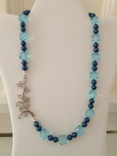 "Navy Pearl & Light Blue Crystal Beaded Pattern Necklace with Silver ""Branch"" Side Detail"