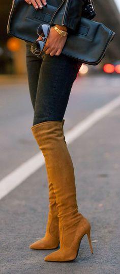 Amazing Camel Suede Over the knee Boots ♔QueenBee♔