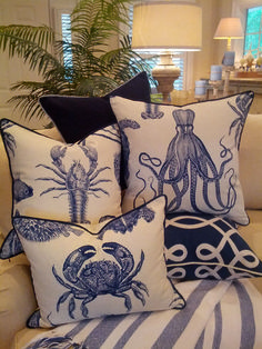 Indigo Sea Life Combo - Coastal Pillows - Beach Pillows - So much fun - blue & white! Coastal Living Rooms, Coastal Cottage, Coastal Homes, Coastal Decor, Living Room Decor, Coastal Style, Coastal Curtains, Coastal Rugs, Seaside Decor
