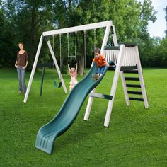 Features:  -Includes: Top swing beam with one trapeze bar, swing belts, a deck and slide.  -Play set.  -Built with woodguard lumber that is coated with a protective polymer.  -Won't chip, crack, rot o