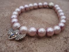 Winged Heart Bracelet//For Her//Pearl by MakeMeSmileJewelry,