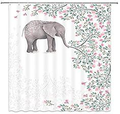 Amazon.com: Elephant Shower Curtain Decor Pink Flower Green Leaves Plant Creative Animal Decorative Bathroom Curtain Polyester Fabric Machine Washable with Hooks 70x70 Inches: Home & Kitchen Elephant Bathroom Decor, Elephant Shower Curtains, Elephant Home Decor, Modern Shower Curtains, Shower Curtain Sets, Bathroom Shower Curtains, Elephant Decoration, Fashion Art, Plastic Curtains