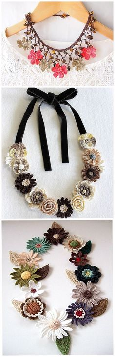 Stunning knitted bracelets, earrings, necklaces 150 fine jewelry crochet and knitting Col Crochet, Crochet Collar, Bead Crochet, Jewelry Hooks, Jewelry Tags, Handmade Jewelry, Fine Jewelry, Handmade Necklaces, Jewelry Ideas