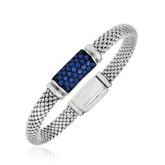 Sterling Silver Blue Sapphire Embellished Popcorn Style Bracelet