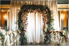 Stunning Floral arch. #weddingceremony. Semple Mansion Wedding