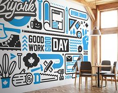 Office Wall Graphic on Behance Office Wall Design, Office Mural, Office Wall Art, Office Walls, Office Decor, Office Ideas, Office Setup, Office Wall Graphics, Interior Walls