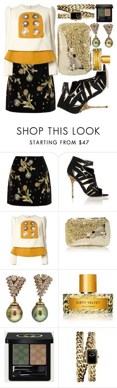"""""""Elysian Fields"""" by fashionforwarded ❤ liked on Polyvore featuring Topshop Unique, Sergio Rossi, Delpozo, Anndra Neen, Vilhelm Parfumerie, Gucci, Chanel and darkflorals"""