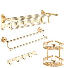 European style Towel rack/ Golden towel racks/ space aluminium towel rail/Bathroom hardware accessories/Bathroom shelf Kit-Q