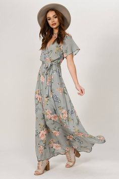 fdb0eb850c6 Mia Floral Wrap Maxi Dress Navy By Girl In Mind