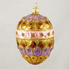Pink, Violet, Gold Royal Egg Christmas or Easter Ornament
