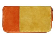 Two tone Suede Wallet in Yellow. $90.00