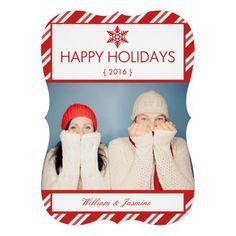 Shaped Candy Cane Photo Holiday Flat Card