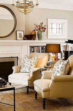 Fireplace with bookshelves and small window above. Similar to your house Lindsey.