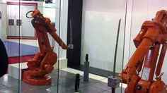 ABB Robots also love learning news skills. here they are, showing off their Katana skills
