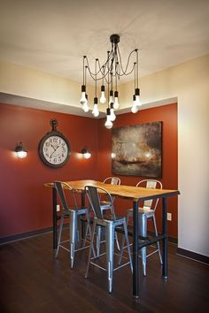 Contemporary Dining Room with International Concepts Turned Counter Height Pub Table