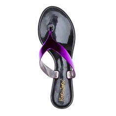 Metallic thong sandals.