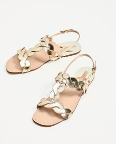 Shop Women's Zara Gold size 8 Sandals at a discounted price at Poshmark. Gold Shoes, Gold Sandals, Flat Sandals, Huarache, Gladiator Shoes, Zara Gold, Toddler Sandals, Braided Sandals, Mens Slippers