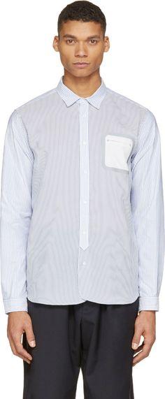 08Sircus Blue Striped Bonded Pocket Shirt
