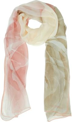 VALENTINO Pink Floral Silk Long Scarf