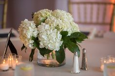 White Hydrangea Centerpiece. Again, yours will have a leaf wrapped vase. No leaves, outside of those on the hydrangea will be sticking out. Your arrangement will be a white cloud of hydrangea.