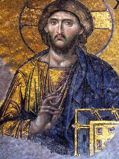 Byzantine mosaic of Christ from Hagia Sophia, Istanbul, formerly Constantinople Orthodox Icons, Hagia Sophia, Byzantine Art, Middle Ages, Mosaic, Christian Art, Art History, Sacred Art, Byzantine