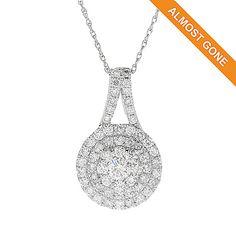 "48% off! Gems of Distinction™ 14K White Gold 0.93ctw Diamond Pendant w/ 18"" Rope Chain"