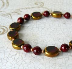 Hey, I found this really awesome Etsy listing at https://www.etsy.com/listing/292407589/dark-red-beaded-bracelet-garnet-red