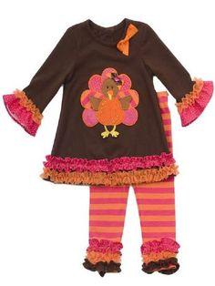 Girls Thanksgiving Outfit Tunic & Pink Legging Set Preorder0-3 Months to 6X