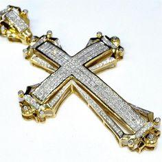 "Gold Cross Charm 2.5"" Tall 1.75ct Real Diamonds 10K Yellow Gold Mens big Pendant Necklaces-Midwest Jewellery,http://www.amazon.com/dp/B00CXOQHMG/ref=cm_sw_r_pi_dp_lQGbtb085W769ZZV"
