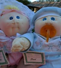 SOFT SCULPTURED PREEMIE BASKET TWINS~Cabbage Patch Kids/Little People Cloth doll