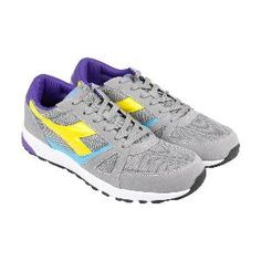 c591f03b6f4 Diadora Run 90 Mens Gray Suede Synthetic Athletic Lace Up Running Shoes