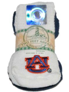 Auburn Tigers Two Feet Ahead Infant Baby Newborn 3 Pair Navy White Socks Pack