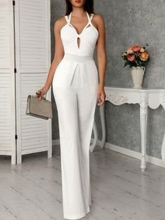 Cutout Crisscross Bandage Wide Leg Jumpsuit, You can collect images you discovered organize them, add your own ideas to your collections and share with other people. White Outfits, Classy Outfits, Winter Outfits Women, Summer Outfits, Elegantes Outfit Frau, Classic Work Outfits, Wedding Jumpsuit, Trend Fashion, Fashion Styles