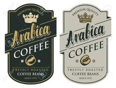Set of two vector labels for freshly roasted coffee beans with crown in figured frame in retro style with inscription Arabica Illustration , Florist Logo, Coffee Roasting, Coffee Beans, Retro Fashion, Frame, Creative, Retro Style, Crown, Illustration