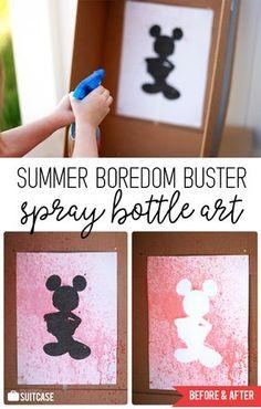 Easy Summer Activity - Spray Bottle Silhouette Art for Kids!