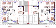 duplex house x 3 bedroom duplex colonial style house plans Duplex Floor Plans, Garage Floor Plans, House Floor Plans, Duplex Apartment, Apartment Layout, Apartment Plans, Apartments, Townhouse Designs, Duplex House Design