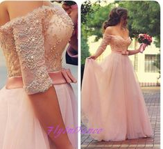 Lace Prom Dresses,Princess Prom Dress,Ball Gown Prom Gown,Pink Prom Gown,Elegant Evening Dress,Tulle Evening Gowns,Party Gowns With Half Sleeves