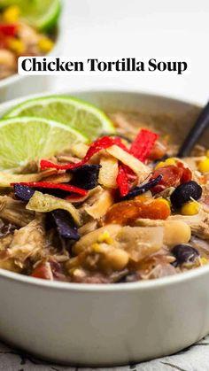 Crokpot Recipes, Fun Easy Recipes, Spinach Recipes, Healthy Chicken Recipes, Dinner Recipes, Cooking Recipes, Soup Beans, Bean Soup, Creamy Chicken Tortilla Soup