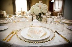 wedding Reception gold charger plates photos ideas