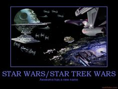 """Trek Wars: """"Shields up!  Fire photon torpedoes!"""" / """"[They will] witness the power of this fully operational battle station!"""""""