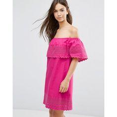 ASOS Embroidered Off Shoulder Sundress (£37) ❤ liked on Polyvore featuring dresses, pink, pink sundress, cotton dresses, tall dresses, sundress dresses and off the shoulder dress
