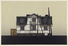 Hodaka Yoshida, a house in the city 1984 Art And Illustration, Illustrations, Family Print, Japanese Prints, Japan Art, Etchings, Woodblock Print, Contemporary Artists, Architecture Art