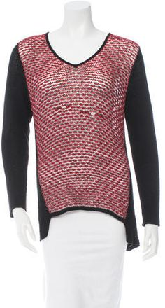 Red and black Helmut Lang colorblock long sleeve sleeve open knit top with V-neckline and high-low hem. Women's V Neck Sweaters, Helmut Lang, Color Blocking, Men Sweater, Knitting, Stylish, Long Sleeve, Sleeves, Clothes