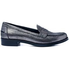 Tod's Silver Gommino Metallic Leather Penny Loafers ($405) ❤ liked on Polyvore