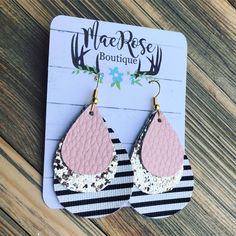 Light Pink Gold Glitter & Stripes Faux Leather Dangles – Mae Rose Boutique