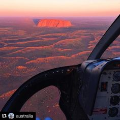What a view of #Uluru! 😎 #Repost @australia with @repostapp ・・・ We can't really blame @migienswindon for referring to the passenger seat of this helicopter as the best place she's ever watched the sunset from - the view is utterly spectacular, if you ask us! A scenic sunset flight here at @exploreuluru has got to be on your bucket list if you're visiting the @ausoutbacknt - it will give you a completely different perspective of this phenomenal rock formation. If aerial tours aren't your…
