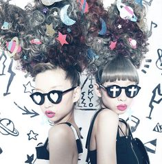 Ami & Aya new twitter picture  tag: japanese street fashion model vivi magazine jouetie designer style sunglasses heart cross love crazy awesome hair