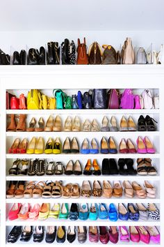 🌟Tante S!fr@ loves this📌🌟Rainbow shoes and rainbow bags 🌈 Rainbow Bag, Rainbow Shoes, Shoe Organizer, Closet Organization, Organization Ideas, The Home Edit, Walk In Wardrobe, Master Closet, Master Bedroom