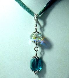 Blue and Crystal Faceted  Large Swarovski by GardenGateDesigns, $20.00